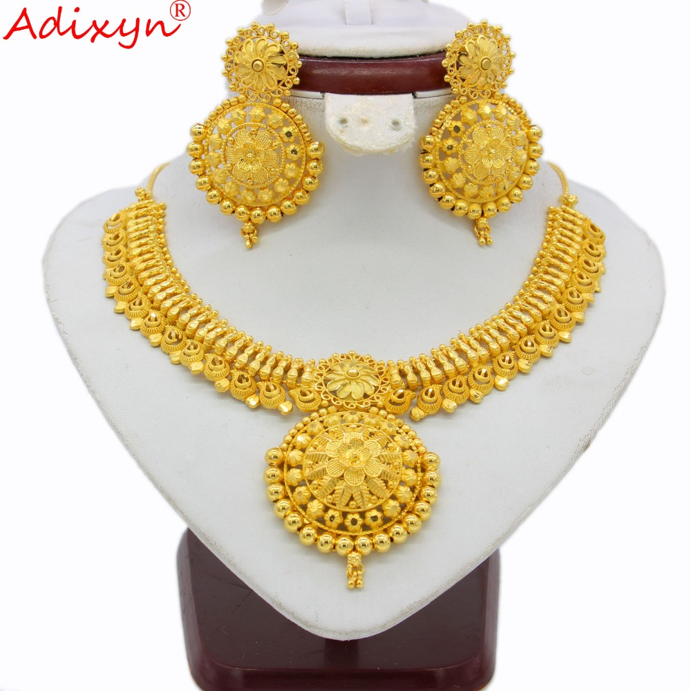 Adixyn Indian Chokers Chain Jewelry Sets Gold Color Earrings For Women African Dubai Arab Wedding Party Adixyn Indian Chokers Chain Jewelry Sets Gold Color Earrings For Women African/Dubai/Arab Wedding/Party Gifts N03148