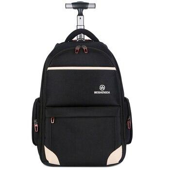 125f228bb 19/21 pulgadas ruedas mochila con ruedas equipaje Trolley mochila  estudiantes viajes multifuncional maleta hombres negocios embarque