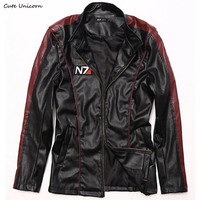 Game Mass Effect 3 N7 Mens PU Leather Jacket Winter Streetwear Coat Men S Clothing Jaquetas