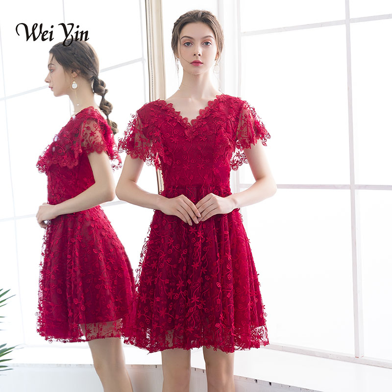 weiyin v neck cocktail dress burgundy short sleeves lace mini length a line gown women party prom cocktail dresses WY797