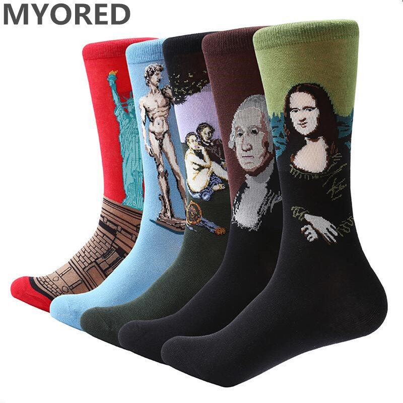 MYORED Socks Novelty Dress Funny Colorful Men's Casual Lisa Cotton Crew 5-Pair/Lot Oil-Painting