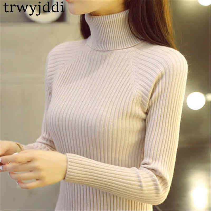 2019 New Sweater Women Autumn Winter Thick Short paragraph Slim Long-sleeved High Collar Knit Black White Pullover N323