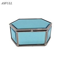 ASFULL Material Glass Blue Hexagon Metal Storage Box Jewelry Box For Earrings Necklaces Bracelets Organizer Wrist