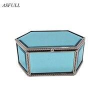 Asfull Материал Стекло синий шестиугольник металлическая коробка для хранения шкатулке для Серьги Ожерелья для мужчин Браслеты Организатор н...