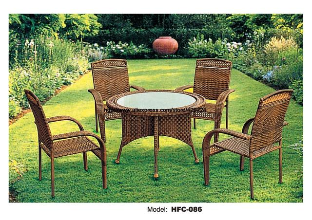 Classic Rattan Furniture Outdoor Rattan Table High Back Armrest Chairs Factory Garden Set Leisure Wicket Balcony Furniture Set