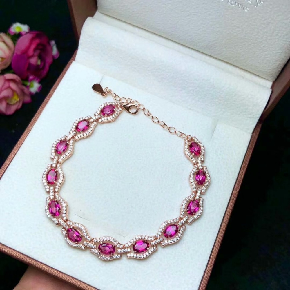 Здесь можно купить  shilovem 925 silver sterling natural topaz pink Bracelets woman trendy fine new plant gift Jewelry wholesale 4*6mm yhl040601agfb  Ювелирные изделия и часы