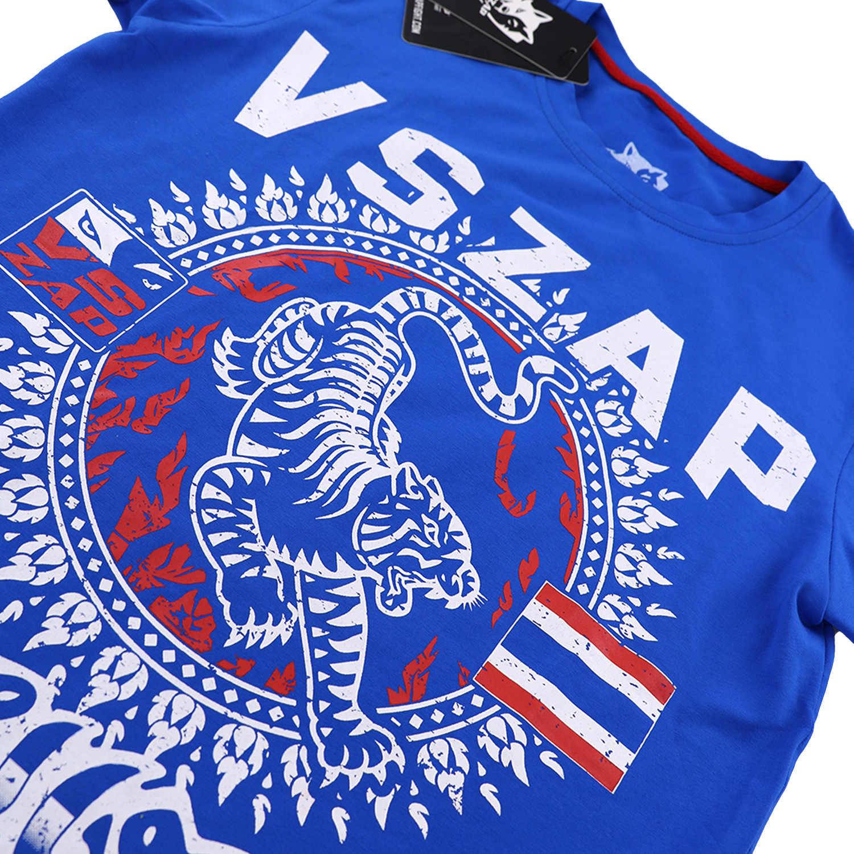 Vszap Musim Panas Muay Thai Kebugaran T-shirt Pria Lengan Pendek O-Leher T-shirt Pria Kasual Katun Dicetak Tiger T-shirt MMA Sweatshirt