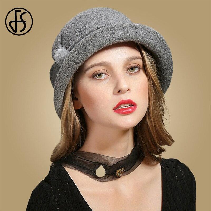 a58e5c722ef ... FS Winter Black Wool Hats For Womens Wide Brim Fedora Vintage Felt Hats  With Flower Fur ...