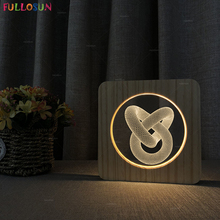 USB 3D Wooden bed lamp Light Art Effect Desk Night LED Warm Color Switch Lighting as Living Room Decor Bedside Lamp
