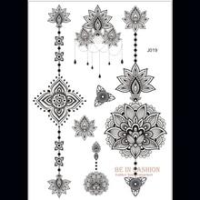 One Piece Indian Arabic Designs Lace Flash Tribal Black White Henna Tattoo Paste Fake Tatoo Sticker On Body Hand Choker J019B