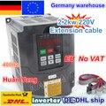 DE free VAT 2.2KW привод переменной частоты VFD инвертор 3HP 220В/380В VSD CNC скорость управления шпинделя гравировальный фрезерный станок
