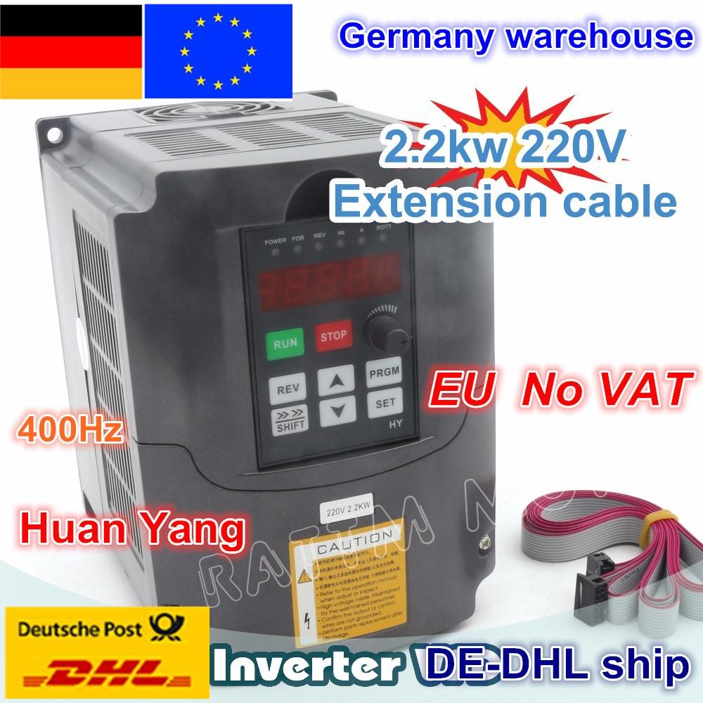 цена на DE ship free VAT 2.2KW Variable Frequency Drive VFD Inverter 3HP 220V VSD CNC speed control Spindle Engraving Milling Machine