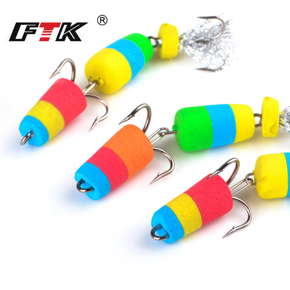 FTK 4pcs/pack Fishing Lure Soft Lure Swim baits Silicone lure Wobbler Bass Insect Bait Minnow Popper Floats Lure Jig head Swivel image