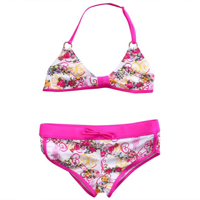 0390ce1bd18fe 3 color Kids Baby Girls Floral Bikini Suit Set Swimsuit Swimwear Bathing  Swimming Clothes