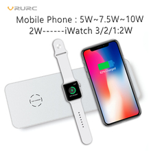 Vrurc 3 in 1 Qi Wireless Charger For iPhone X 8 Plus For Apple Watch 2