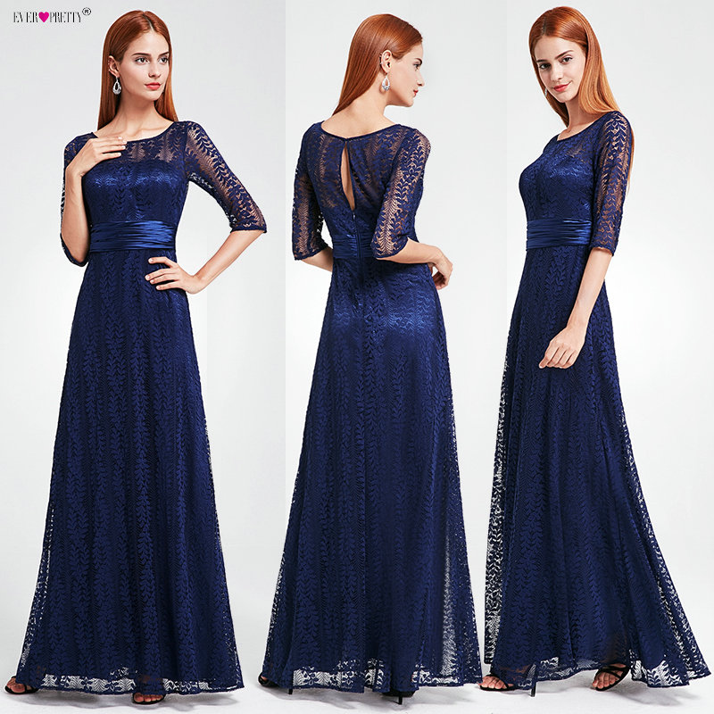 Women's Elegant Long Mother Of The Bride Dresses 2019 Ever Pretty EP08878 Cheap Grey Lace Floor-Length Plus Size Mother Dresses