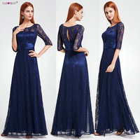 Women's Elegant Long Mother of the Bride Dresses 2018 Ever Pretty EP08878 Cheap Grey Lace Floor Length Plus Size Mother Dresses
