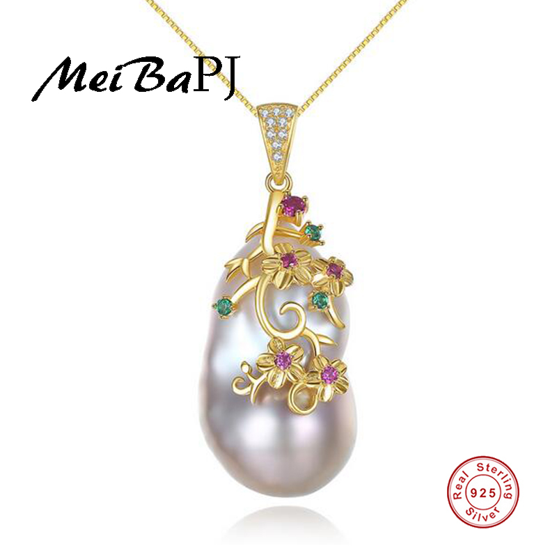 [MeiBaPJ] Luxurious Real Natural Baroque Pearl Pendant Necklace 925 Sterling Silver Golden Color Party Jewelry for Women 2 3mm red natural agate necklace multi layers 925 sterling silver with real pearl fine womne jewelry wedding party necklace
