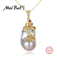 [MeiBaPJ] Luxurious Real Natural Baroque Pearl Pendant Necklace 925 Sterling Silver Golden Color Party Jewelry for Women