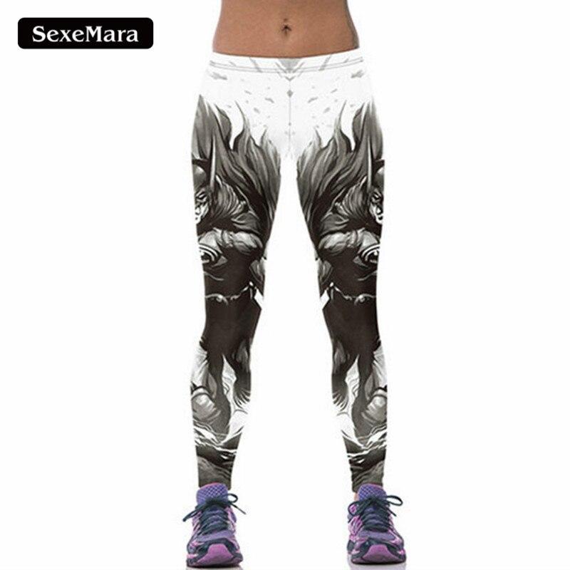 SexeMara High Quality Cool Batman Leggings Women Popular Hero Printed Sporting Fitness Leggins Youth Skinny Bodycon Pants F1636