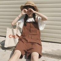 Mihoshop Ulzzang Korean Korea Women Fashion Clothing Summer Casual Brown School Preppy Bib Jumpsuit 1