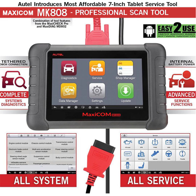 Image 4 - Autel MaxiCOM MK808 OBD2 Scanner Diagnostic Scan Tool All System Diagnosis Service Functions Code Reader MD802+MaxiCheck Pro