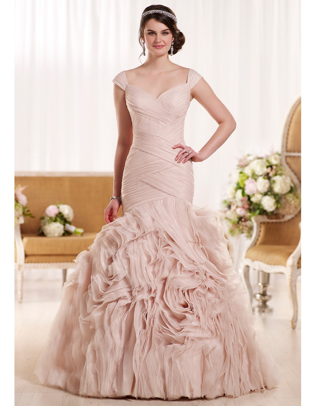 2016 sexy blush pink wedding dresses cheap formal bridal gowns Long ...