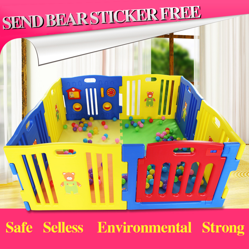 EU Stardard Export Baby Game Playpen Colorful  Strong Game Fence L Baby Toy Fences 10+2 Pcs Baby Play Mat Garden 530cm