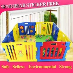 Tienda de juegos para bebés de exportación estándar de la UE parque de juegos colorido fuerte valla de juegos l cercas de juguetes para bebés 10 + 2 uds alfombra de juego para bebés jardín 530cm