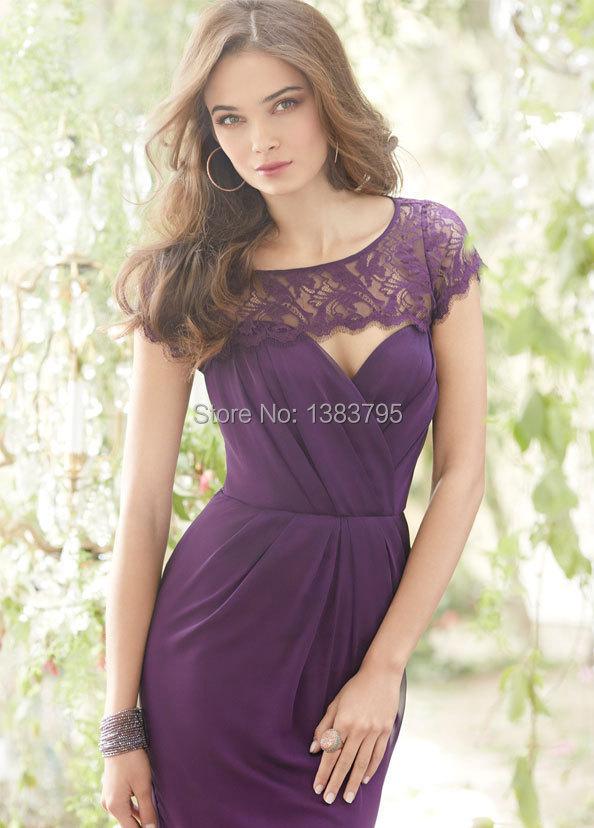 Popular Purple Bridesmaid Dresses Sleeves-Buy Cheap Purple ...