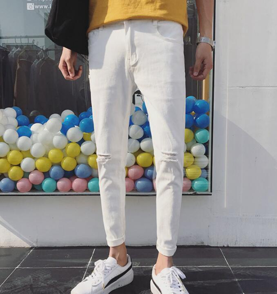 Mens spring and autumn Korean version of the fashion personality trend of the new style of nine-point stretch slim jeans /27-34