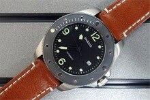 43mm Parnis Reloj de Cristal de Zafiro de Cerámica Bisel Giratorio Automático