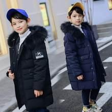 12efb0760 Niños abrigo de invierno abajo chaquetas adolescentes niños ropa de Navidad 2018  niños cuello de piel caliente gruesa capucha de.