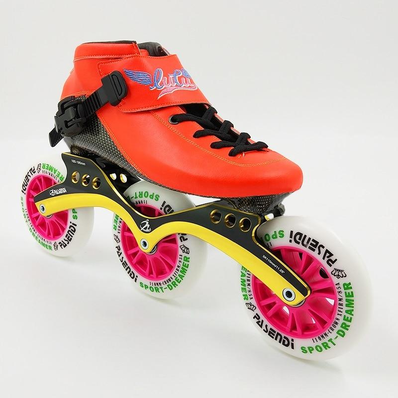 LUTU nouveaux patins chaussures de patinage de vitesse enfant hommes Roller Skate bottes adultes femmes chaussures en ligne grandes roues plein carbone professionnel