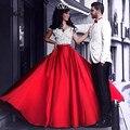 Gorgeous red falda personalizada cremallera cintura estilo a line piso-longitud formal de la falda larga maxi faldas de las mujeres