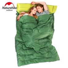 Naturehike 2.15 m * 1.45 m na zewnątrz podwójne śpiwór koperta wiosna i jesień camping piesze wycieczki przenośne śpiwór z poduszki