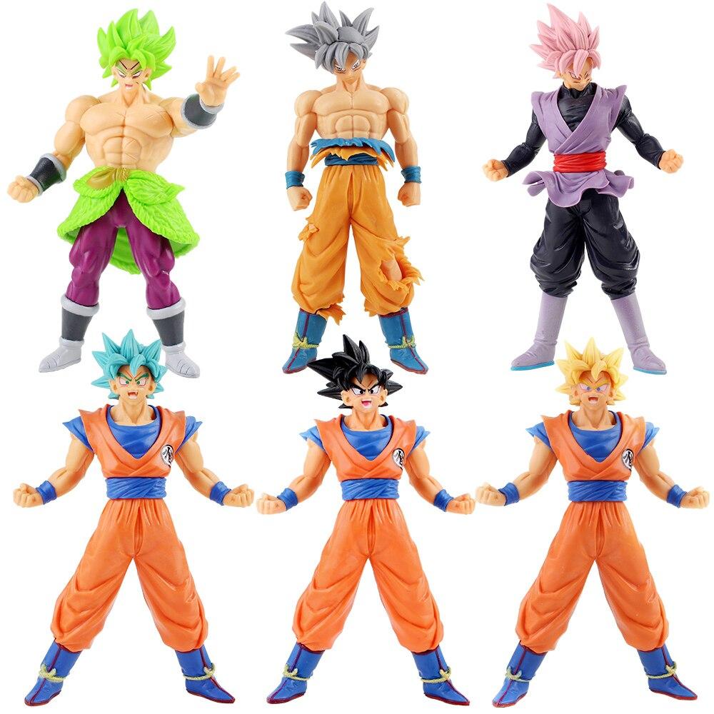 Dragon Ball SUPER Super Saiyan Blue Ultra Instinct Son Goku Black Goku Broly PVC Figures Collectible Model Toys 6pcs/set 1 Order