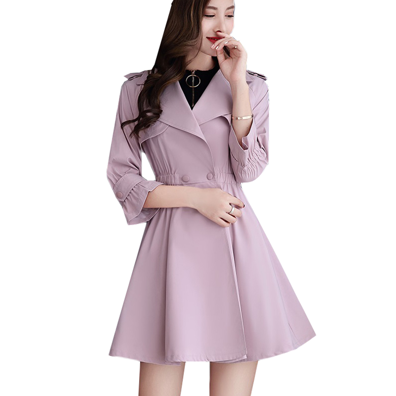 Windbreaker Female New Double-breasted Medium long Outerwear Slim Three Quarter Women   Trench   Coat Spring Autumn Pink Coats AA232