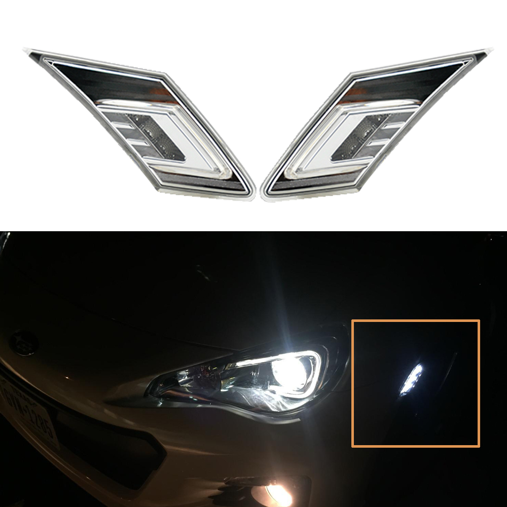 2pcs/lot White/Amber LED Side Marker Blinker Lights w/ Crystal Clear Lens For 2013-up Scion FR-S Subaru BRZ for Toyota 86 GT 52mm racing aluminum radiator for 13 16 subaru brz frs gt86 fr s toyota sl