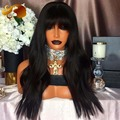 Natural Straight Human Hair Wig With Bangs Virgin Brazilian Hair Full Lace Wigs For Black Wome Lace Front Human Hair Wigs