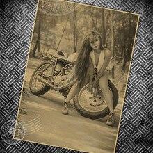 Póster vintage de motocicleta de EE. UU. Sexi, pósteres clásicos de pintura retro, bar club, pared de salón, imagen artística, foto antigua 42x30cm