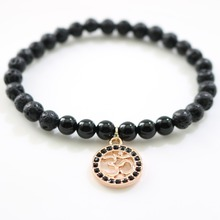 Black Onxy Natural Stone Lava Beads Men Bracelet With Rose Gold OM Pendant Elastic Chain Yoga Bangles For Women Jewelry Gift