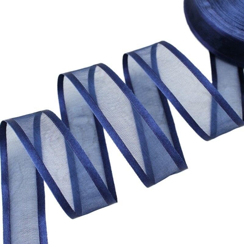 1 ''(25 мм) темно-синяя лента из органзы, оптовая продажа, декоративные ленты для упаковки подарка