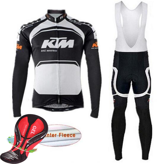 2017 KTM Winter Men Cycling Jersey Warm Thermal Fleece Bicycle Clothing Set MTB Bike Maillot Ropa De Ciclismo Hombre black thermal fleece cycling clothing winter fleece long adequate quality cycling jersey bicycle clothing cc5081