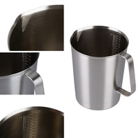 Best 500ml 1000ml 1500ml New Stainless Steel Cup Graduated Glass Liquid Measuring Cups Kitchen Useful Tools