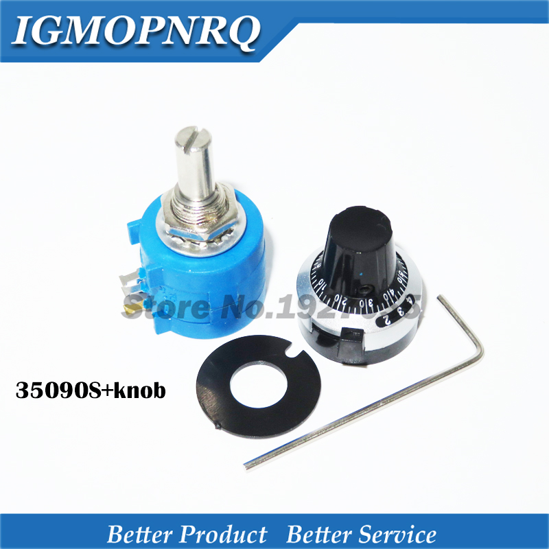 3590S-2 3590S Precision Multiturn Potentiometer 10 Ring Adjustable Resistor + 1PCS Turns Counting Dial Rotary 6.35mm Knob NEW