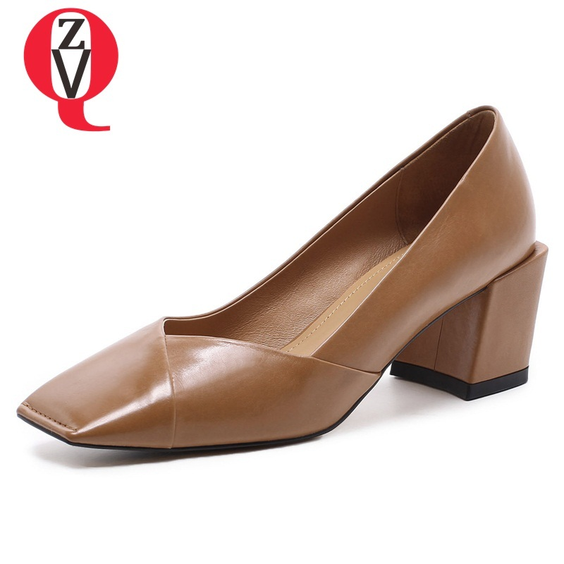 ZVQ women shoes new fashion genuine leather high hoof heels square toe heel height 6 cm shallow slip-on spring lady pumps new spring fashion brand genuine leather sweet classic high heels women pumps shallow thick heel mary janes lady causal shoes