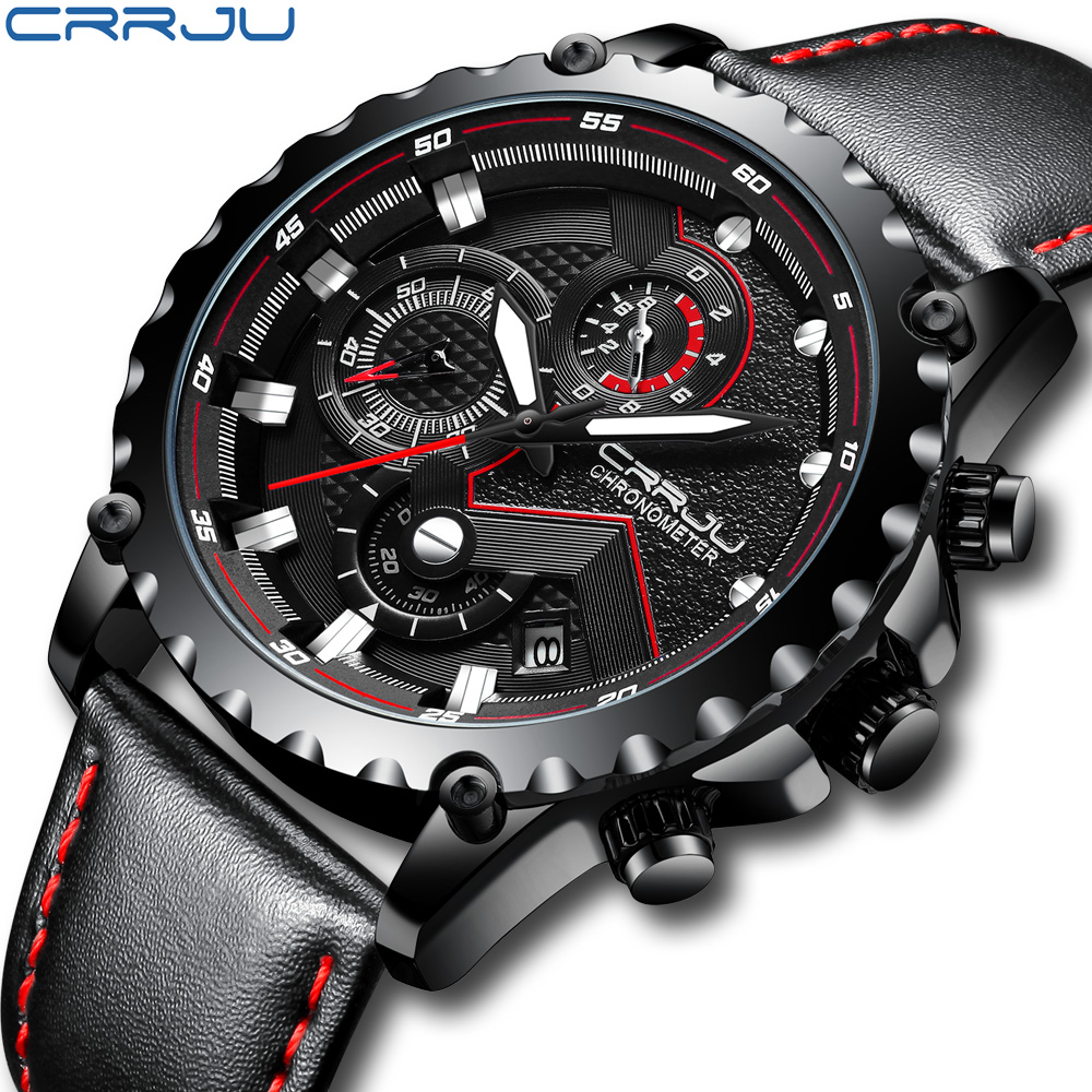 CRRJU Mens Watches Top Brand Luxury Quartz Black Watch Men Casual Leather Military Waterproof Sport Wristwatch Relogio Masculino