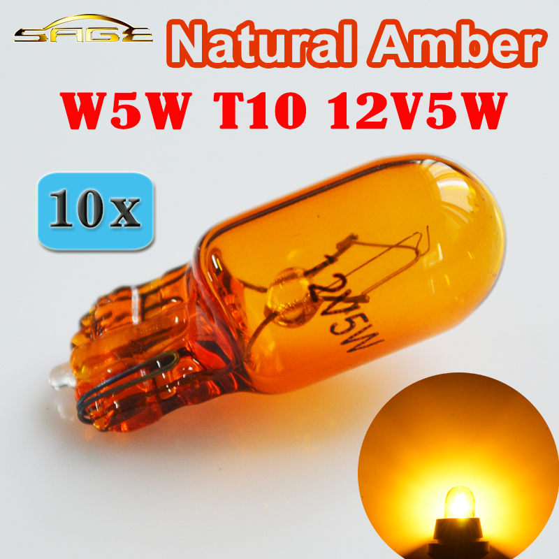 flytop (10 Pieces/Lot) 501 194 W5W T10 Natural Amber Glass 12V 5W W2.1x9.5d Single Filament Car Bulb Lamp 5 pieces lot d151811 3210