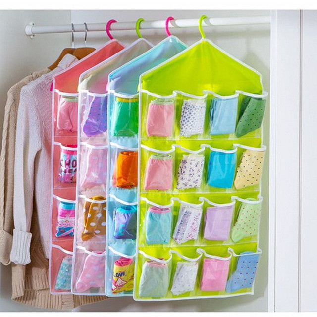 16 Pockets Clothes Storage Bag for Shoes Socks Organizer Wardrobe